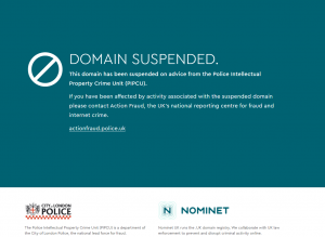 Screenshot showing domain suspended